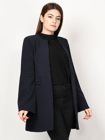 Bell Sleeved Coat - Dark Blue