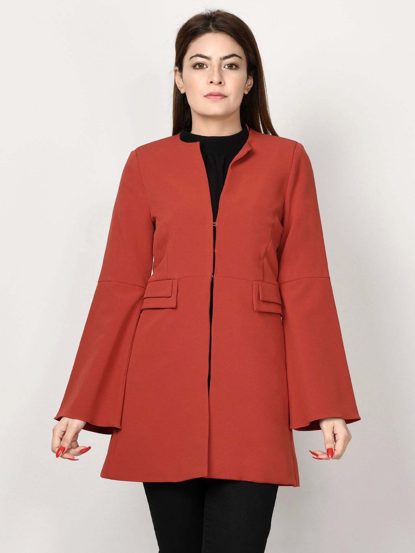 Bell Sleeved Coat - Rust