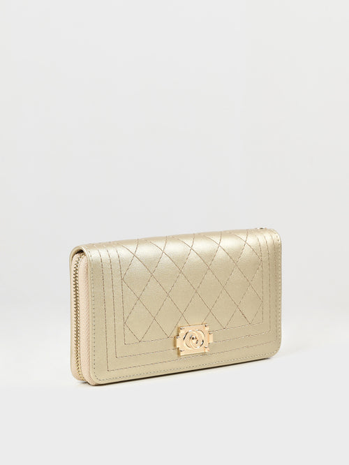 Patterned Zip Around Wallet