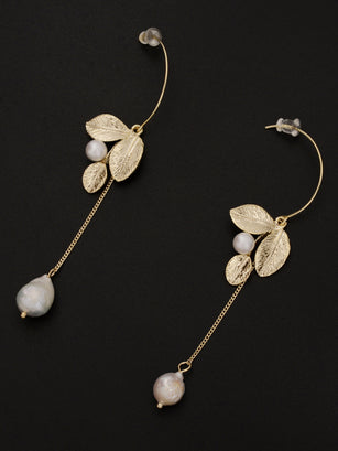 Leaf Pearl Earrings