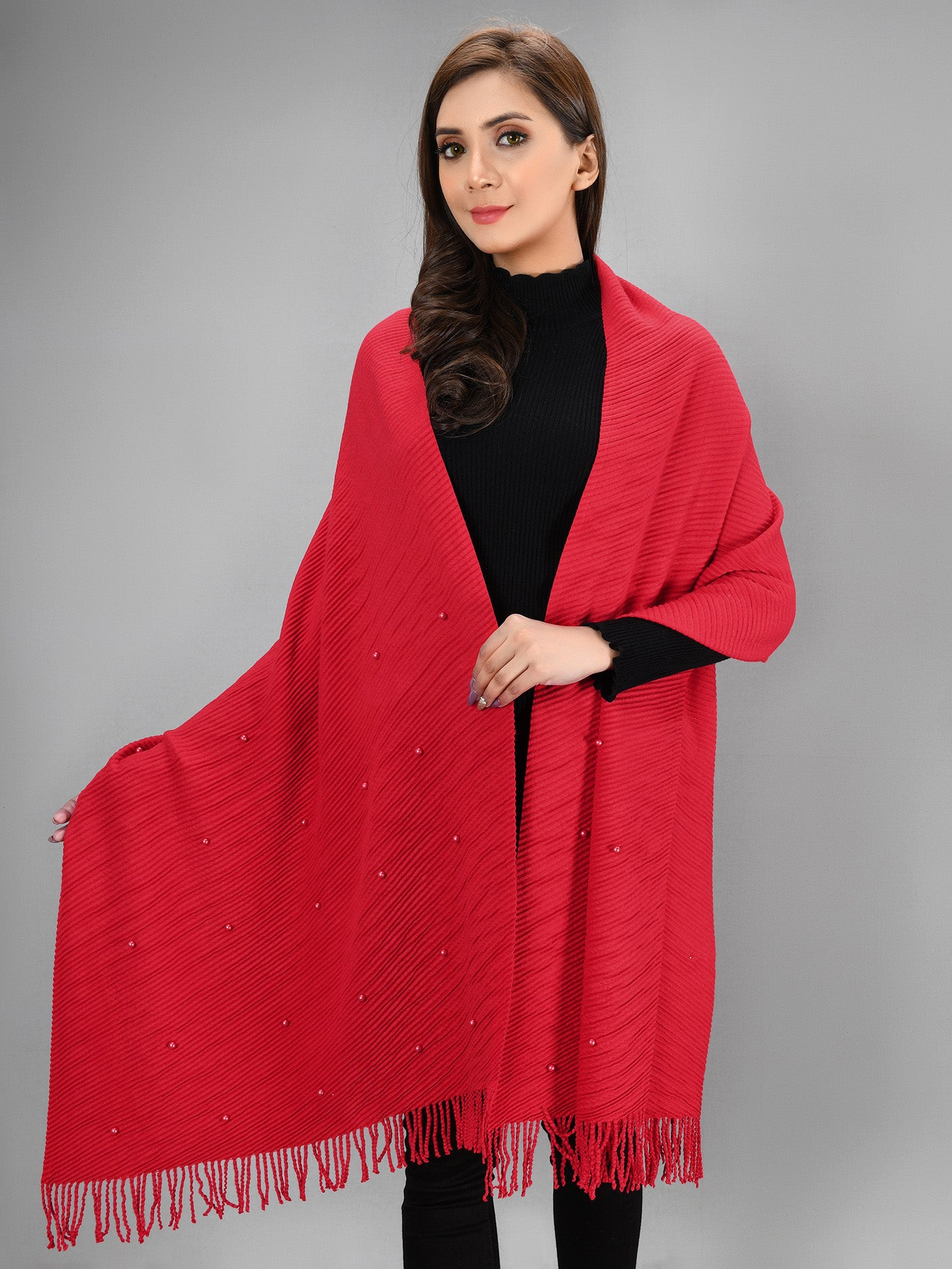 Pearl Shawl - Red