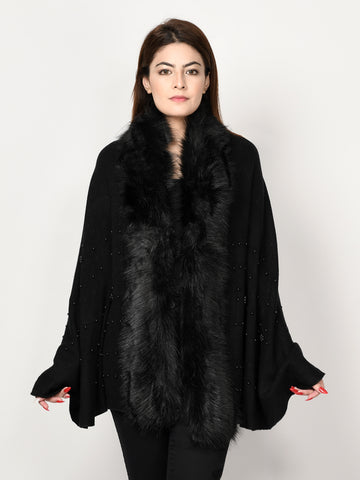 Beaded Fur Cape Shawl