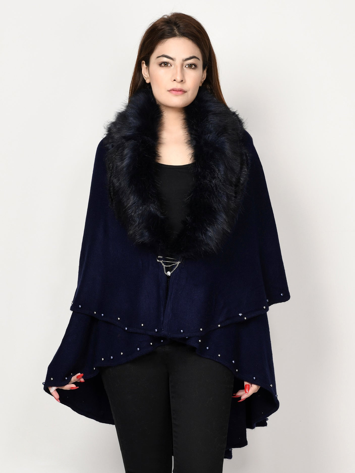 Limelight Online Beaded Fur Cape Shawl CPS60-FRE-BLK