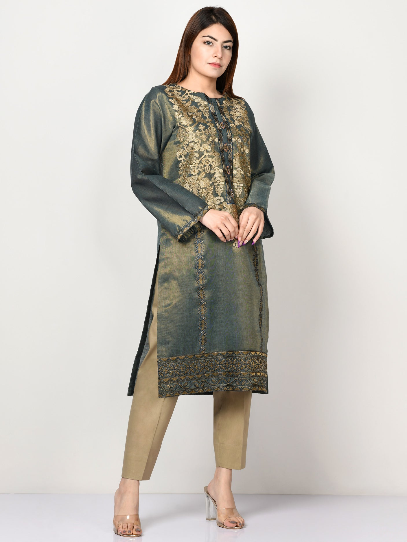 Embroidered Shimmer Lawn Shirt