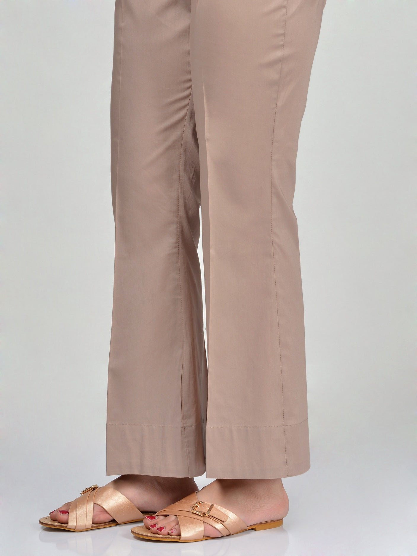 Bootcut Pants-Dark Beige