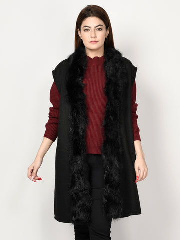 Thick Knit Fur Cardigan