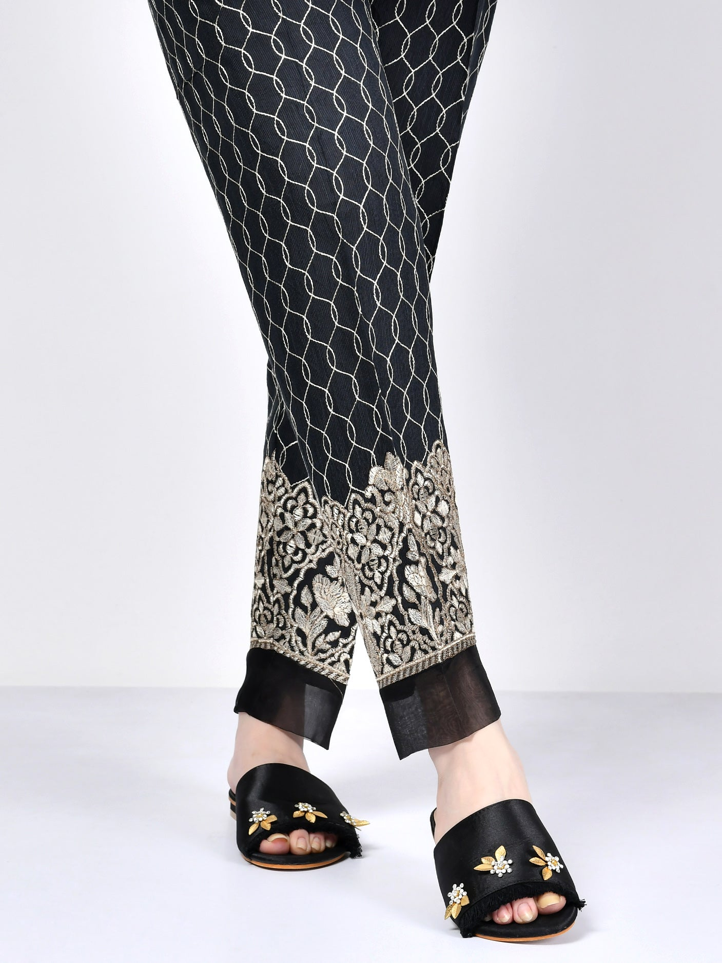 Embroidered Silk Trouser