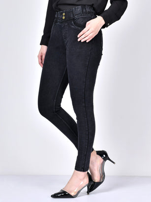 Buttoned Jeans-Black