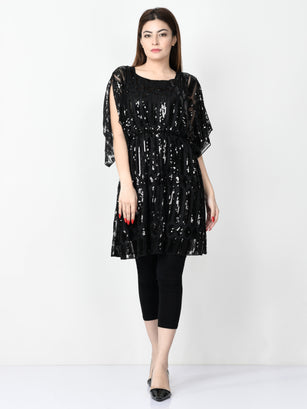 Sequin Embroidered Net Dress - Black