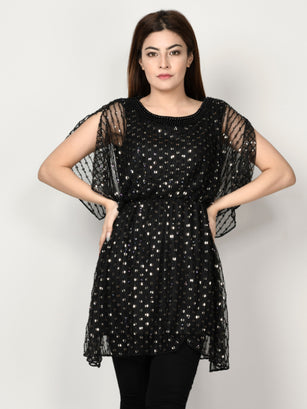 Sequin Embellished Net Dress - Black
