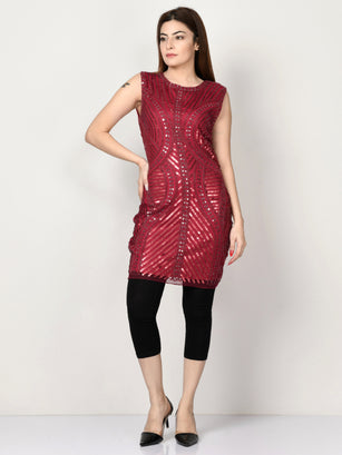 Embellished Net Dress - Dark Red