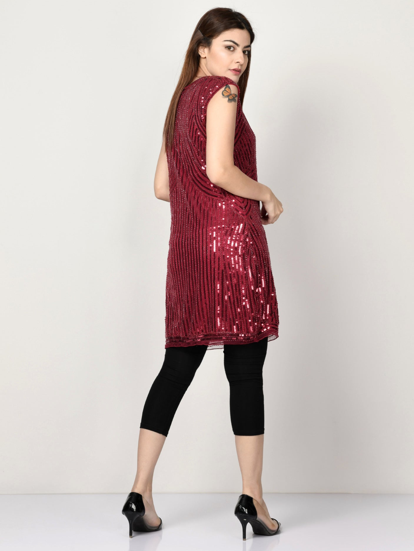 Sequin Embroidered Net Dress - Dark Red