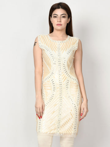Embellished Net Dress - Off White