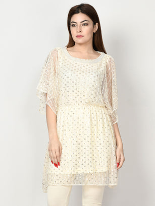 Sequin Embellished Net Dress - Off White