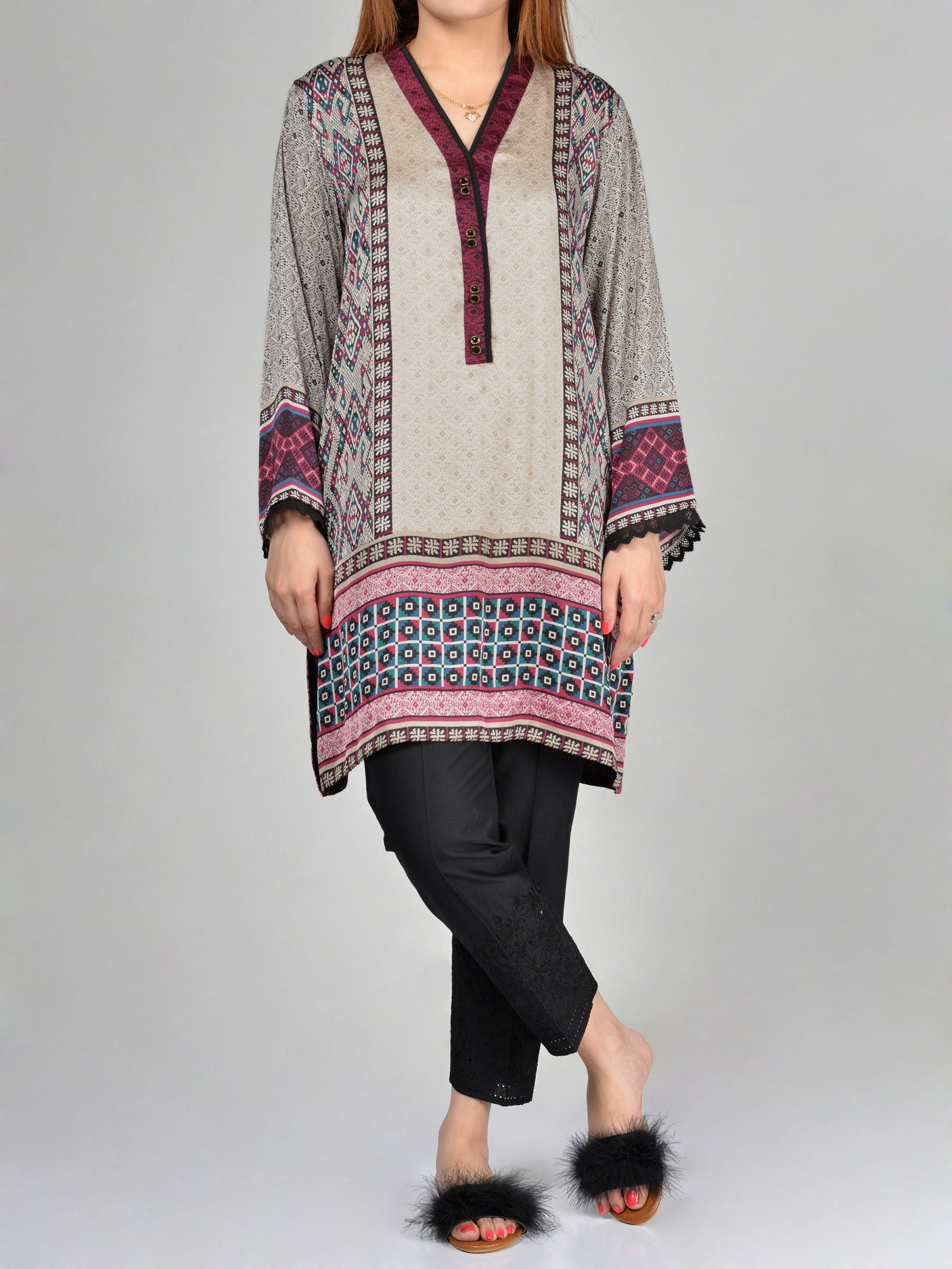 Buy Printed Silk Shirt F1581 Online in Pakistan | Limelight.pk