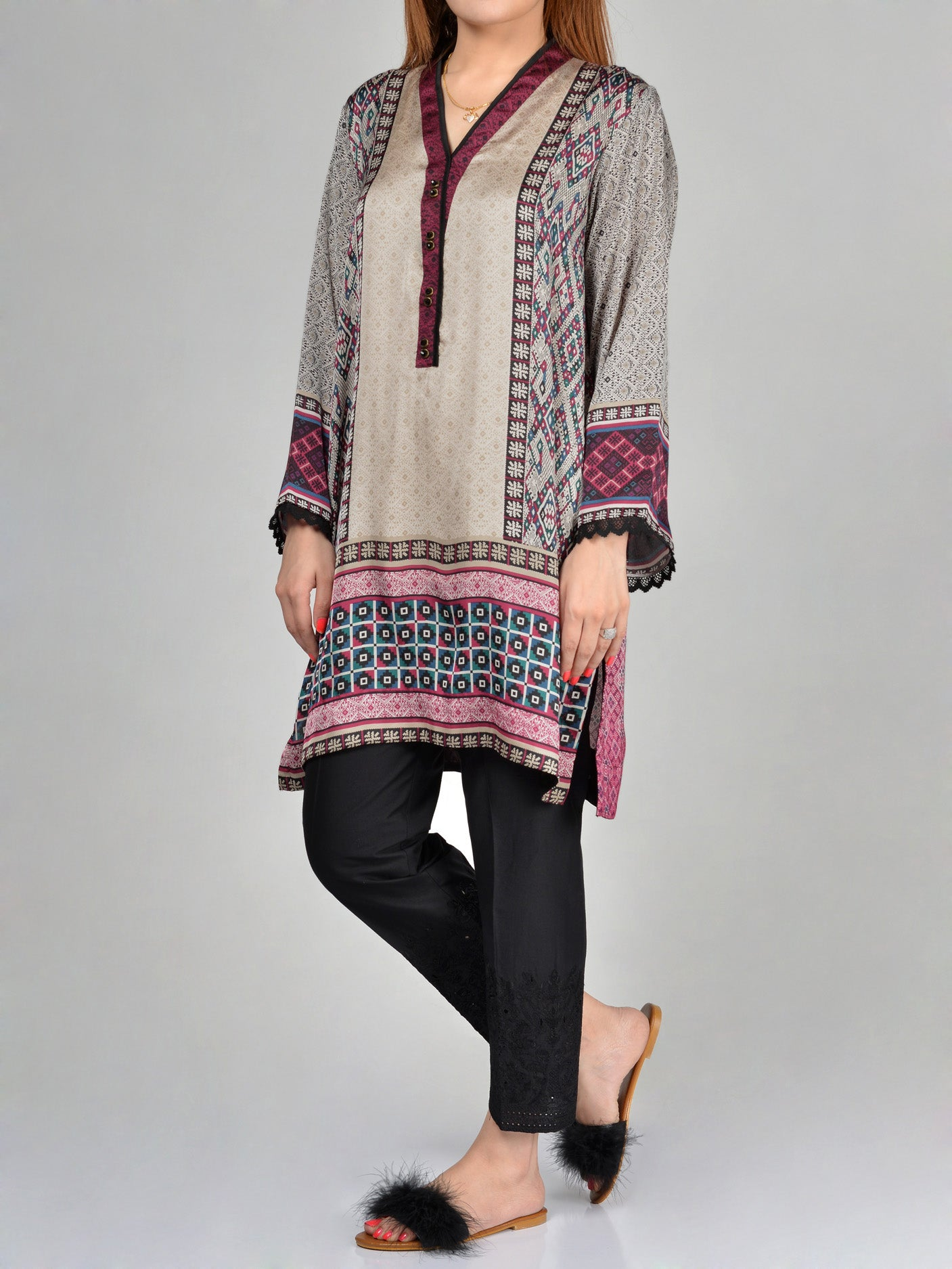 Limelight Printed Silk Shirt F1581 Online in Pakistan | Limelight.pk