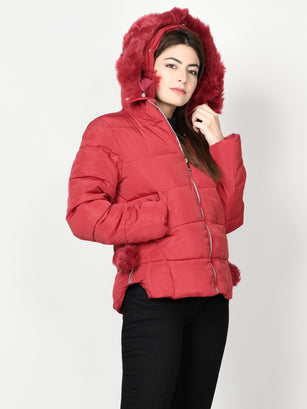 Faux Fur Puffer Jacket - Red