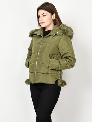 Faux Fur Puffer Jacket - Army Green
