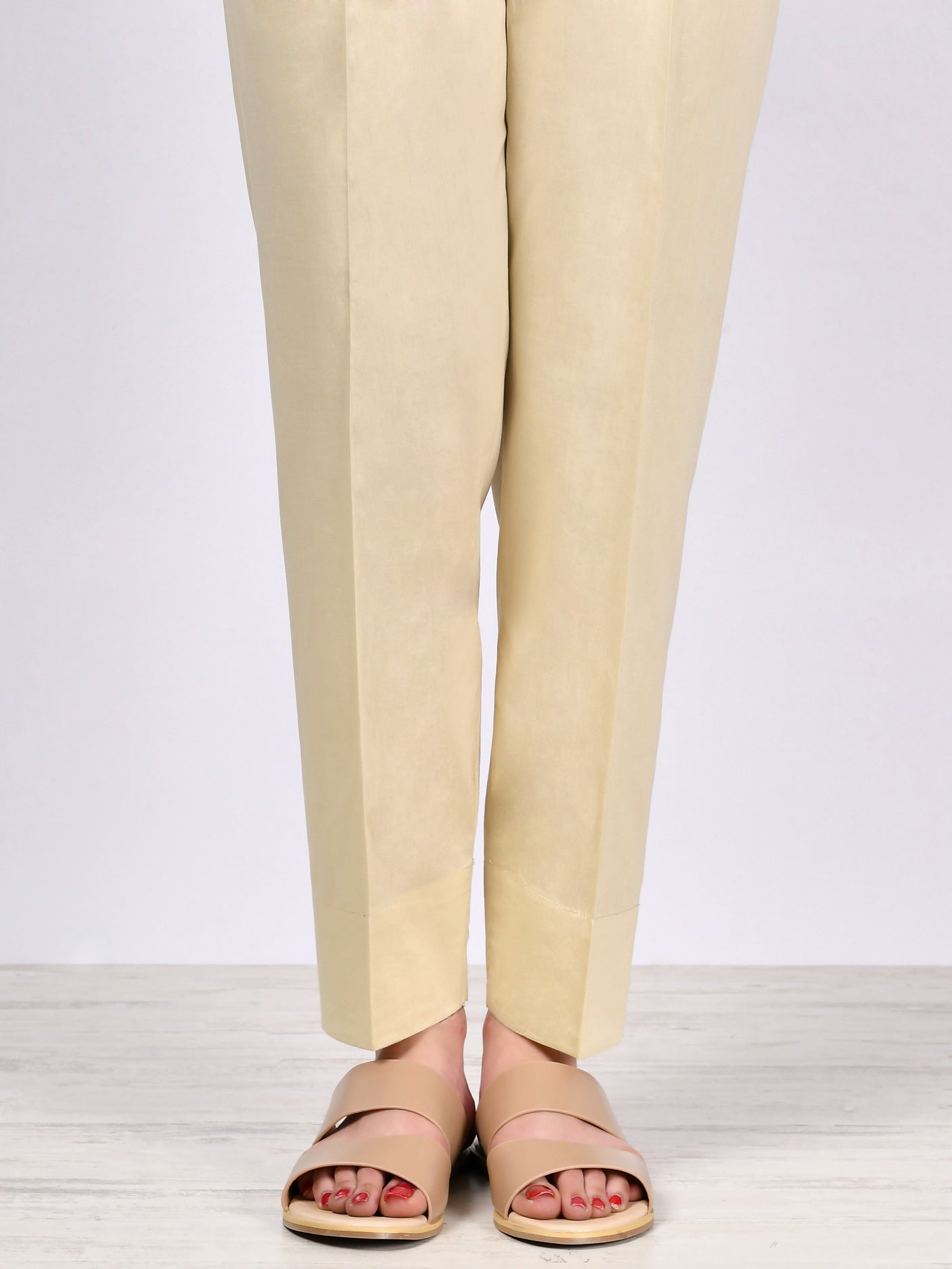 Straight Trouser-Light Beige