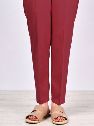 Straight Trouser-Dark Red