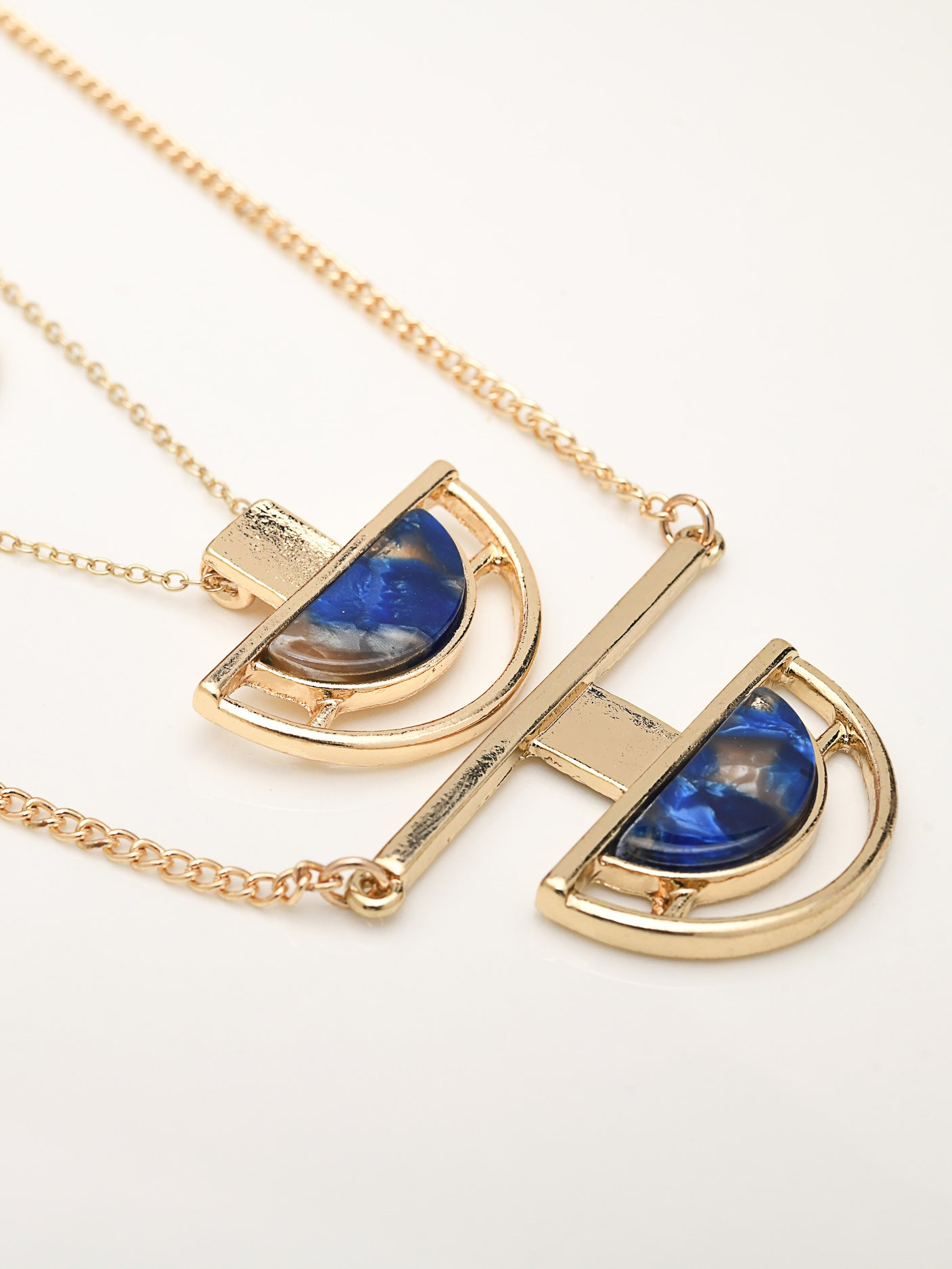 Semi Circular Pendants Necklace