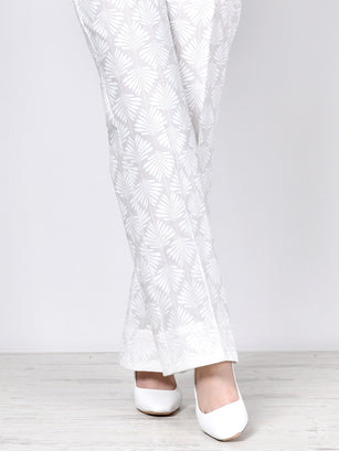 Unstitched Printed Cambric Trouser-White