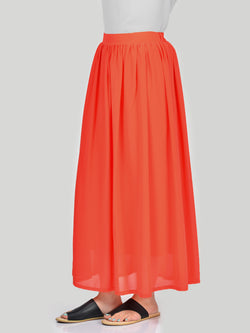 Chiffon Skirt-Orange