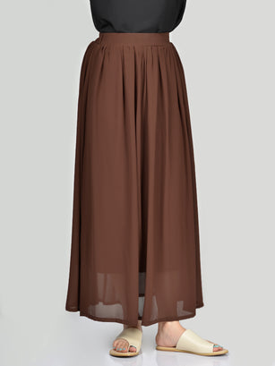 Chiffon Skirt-Dark Brown