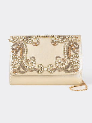 Embellished Glossy Clutch