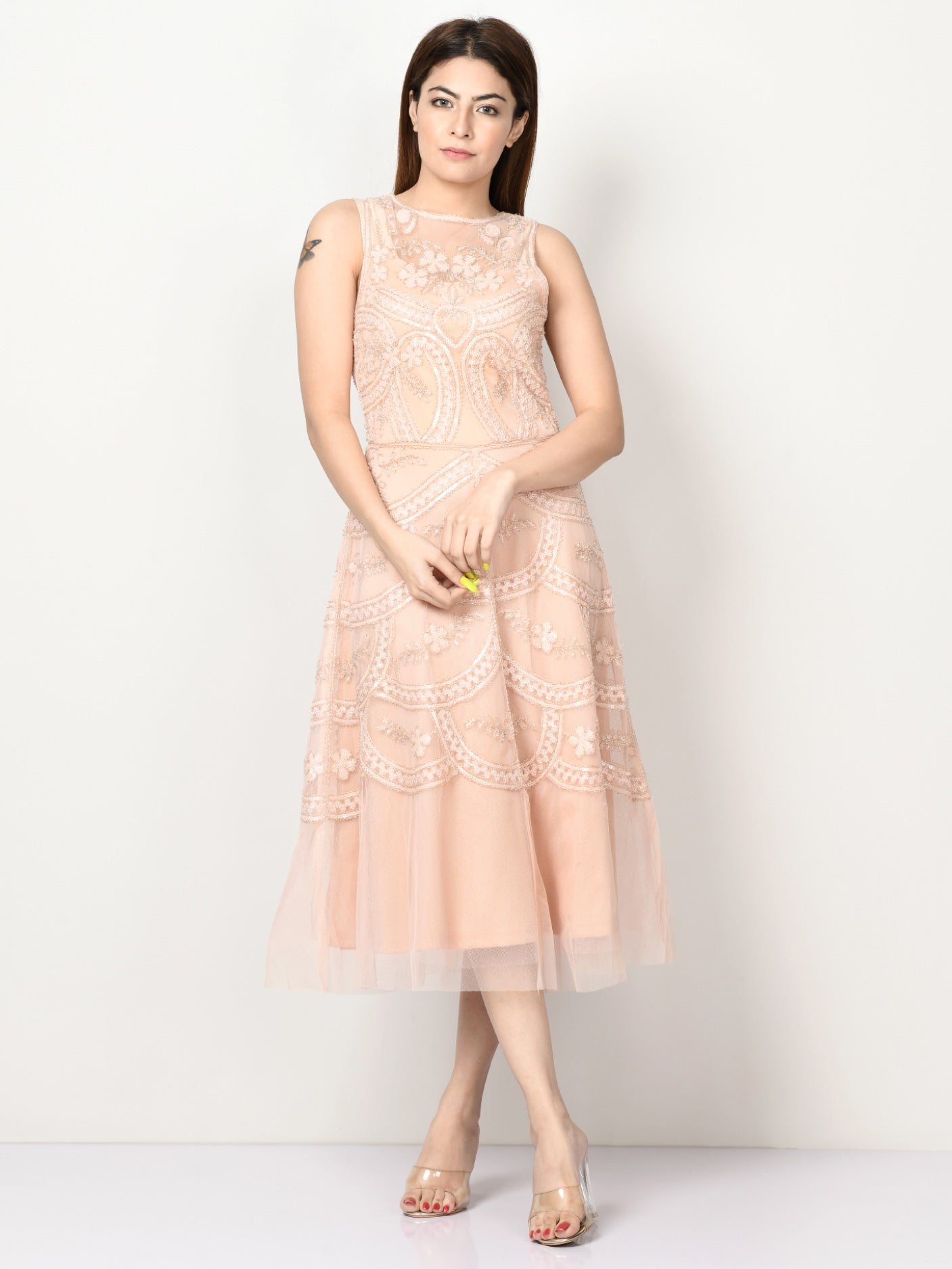 Embellished Net Dress - Light Peach