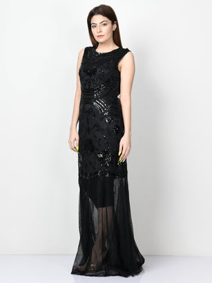 Embellished Net Dress - Black