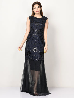 Embellished Net Dress - Navy Blue