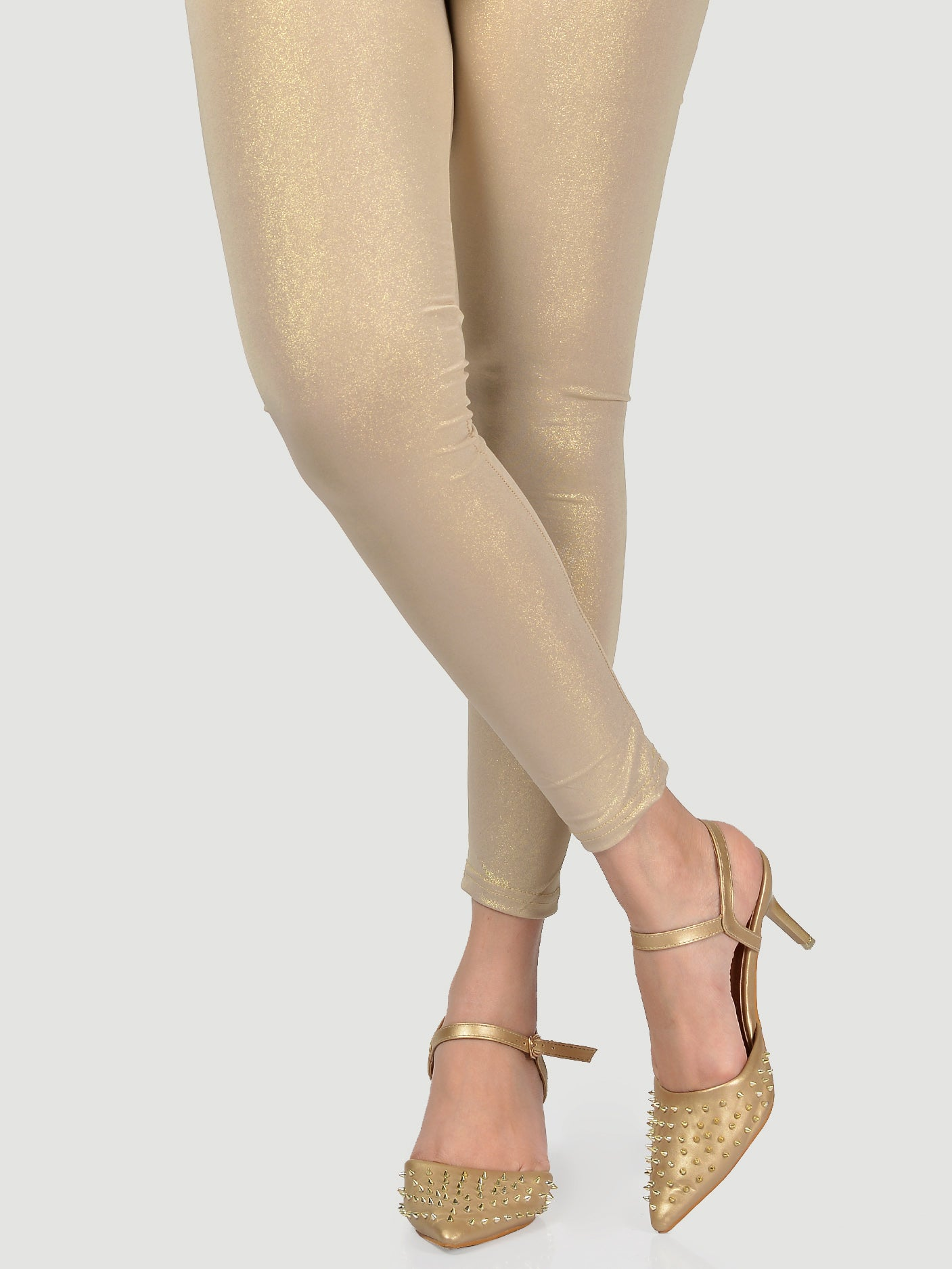 Shimmer Tights-Dull Gold