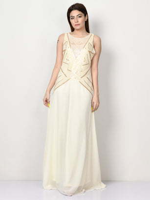 Sequin Embroidered Net Dress - Off White