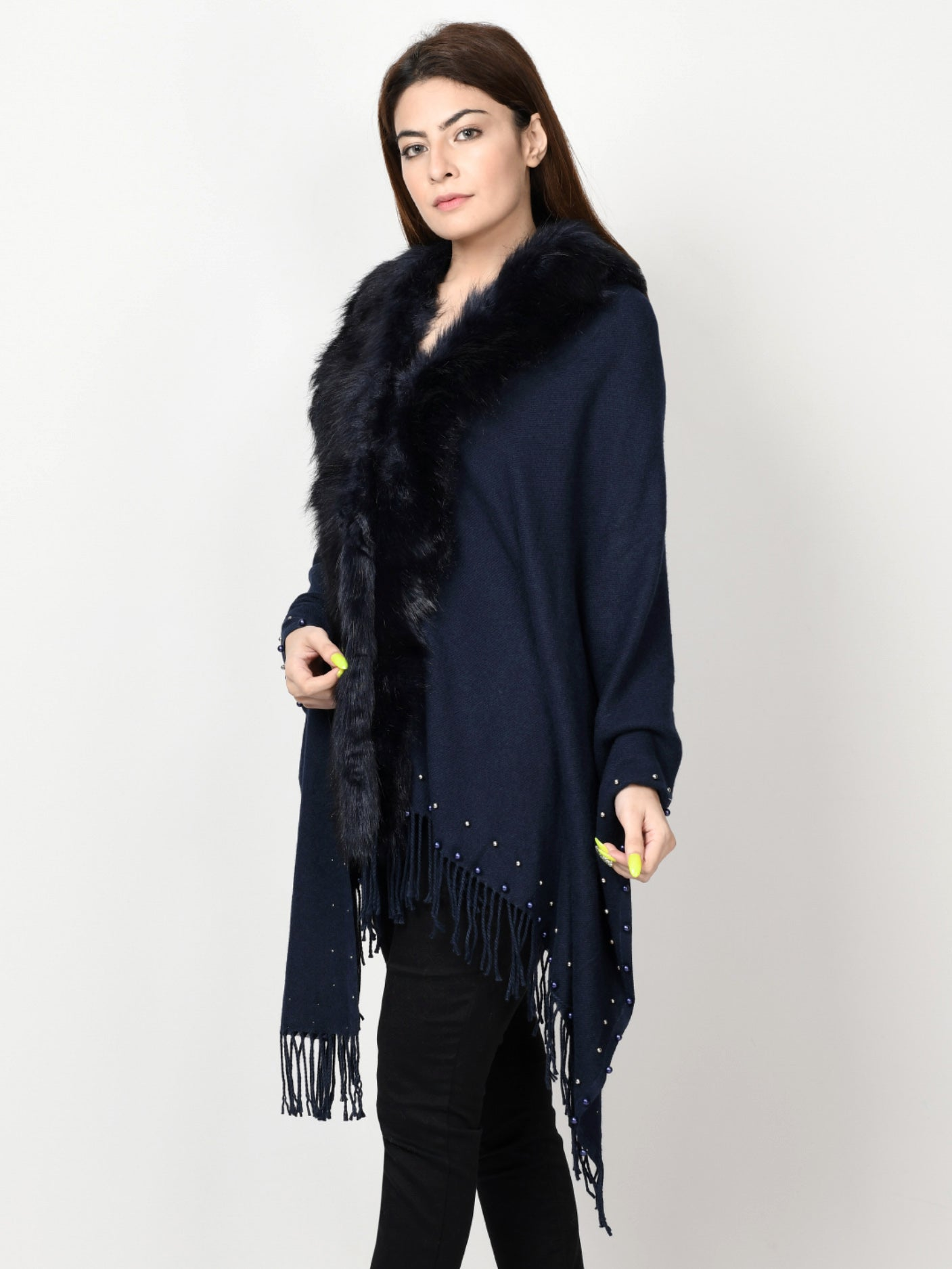 Limelight Online Beaded Fur Cape Shawl CPS87-FRE-BLK