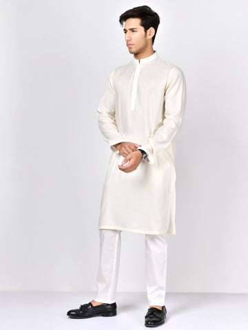 Jacquard Kurta-Off White