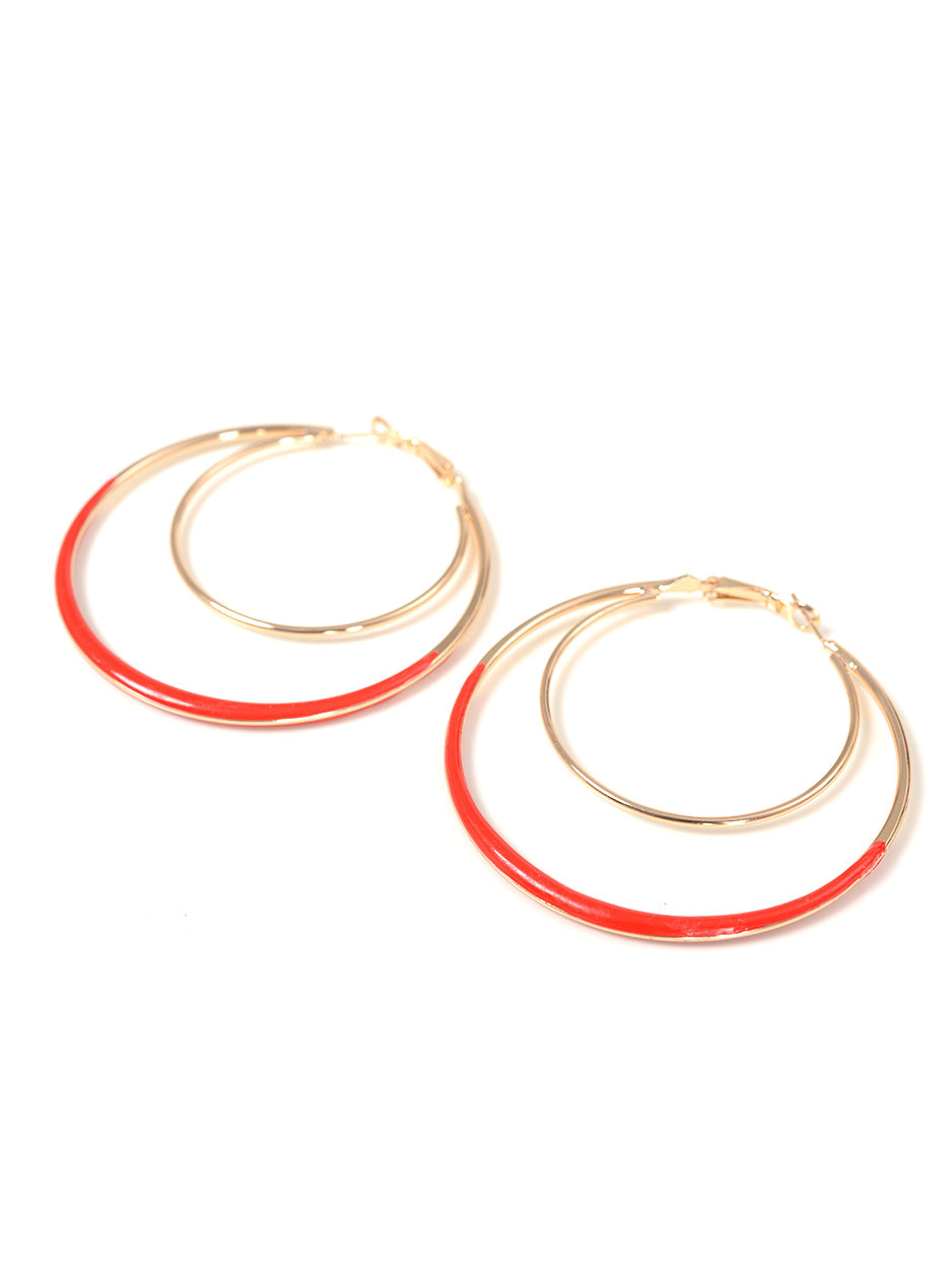 Red Hoop Earrings