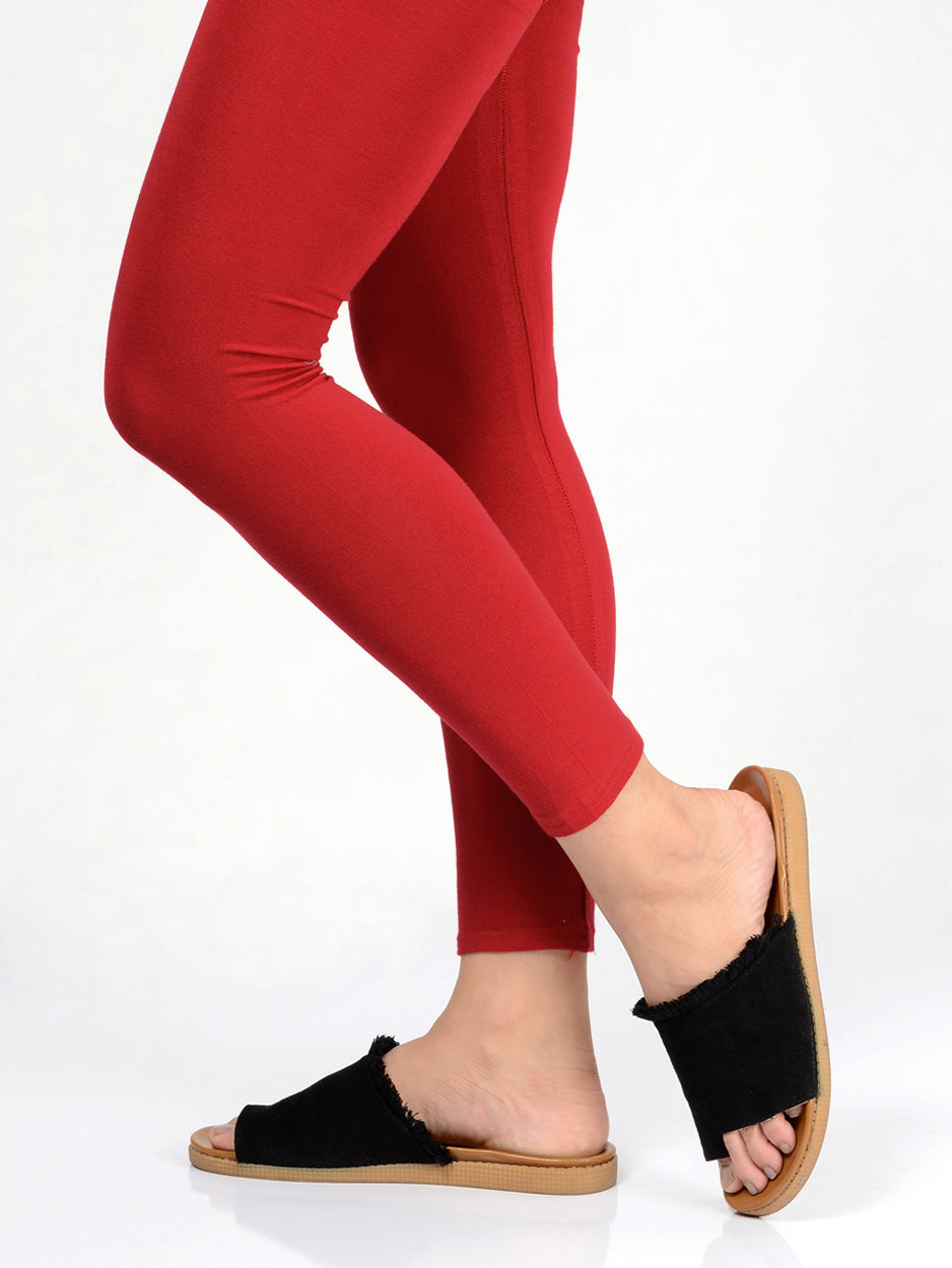 Basic Tights-Bright Red