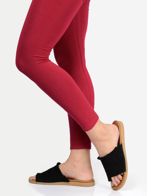 Basic Tights-Deep Red