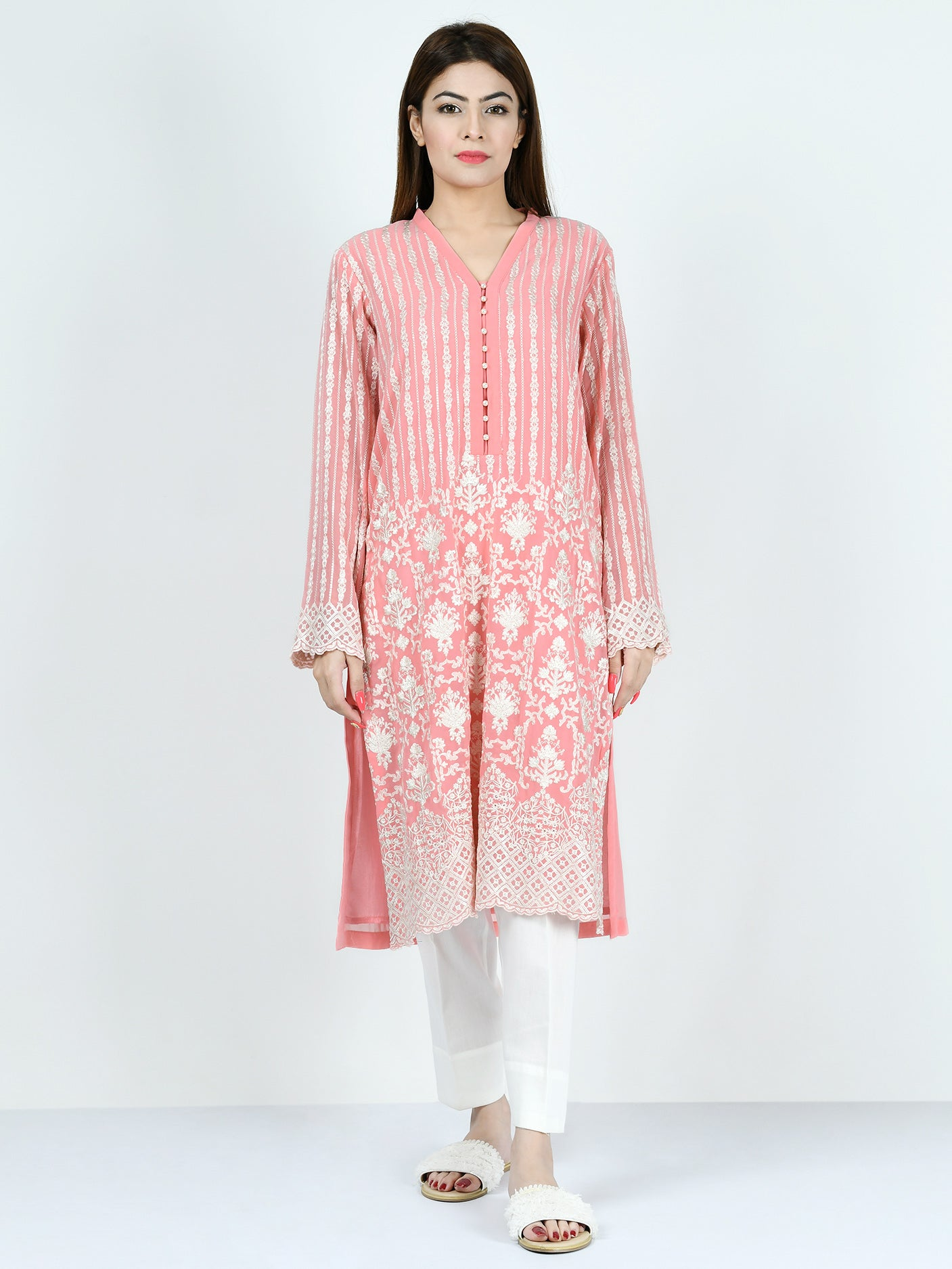 Embroidered Chiffon Shirt
