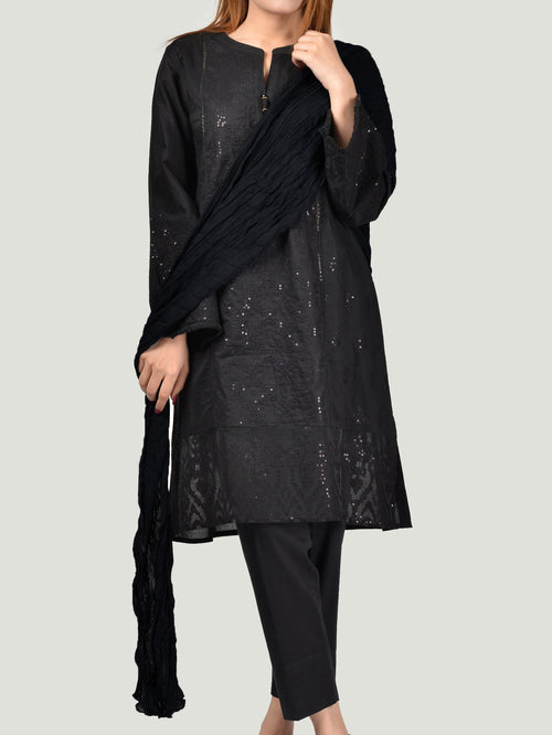 Crushed Dupatta-Black