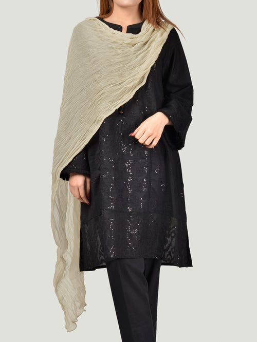 Crushed Dupatta - Smoke White