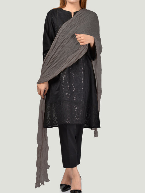 Crushed Dupatta-Grey