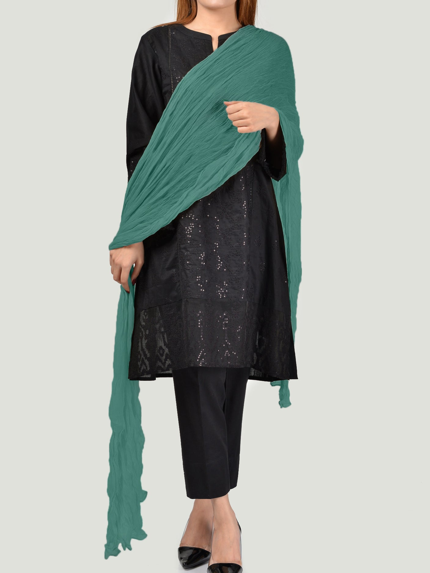 Crushed Dupatta - Green