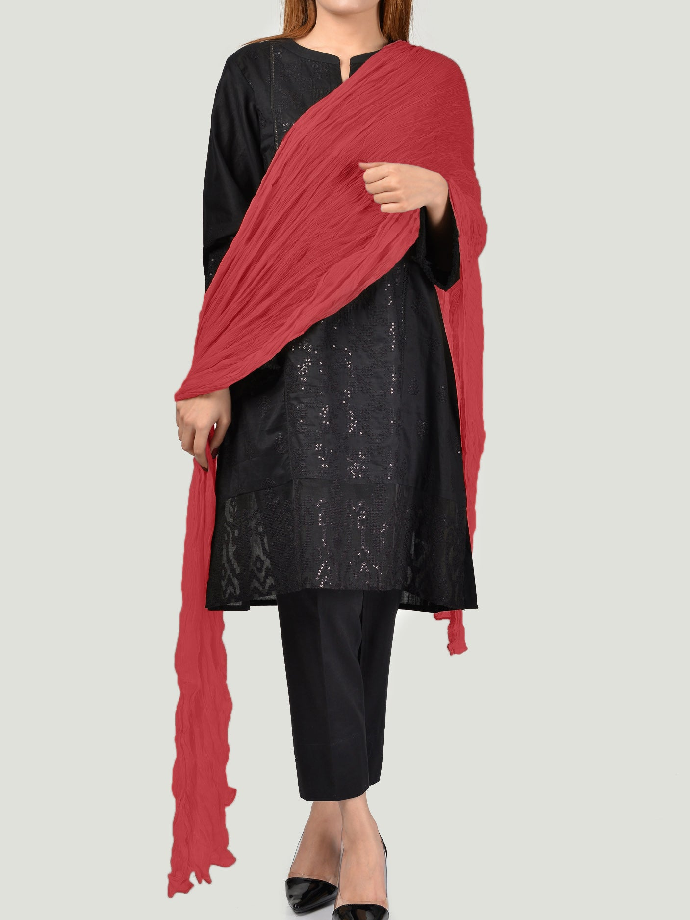 Crushed Dupatta - Red