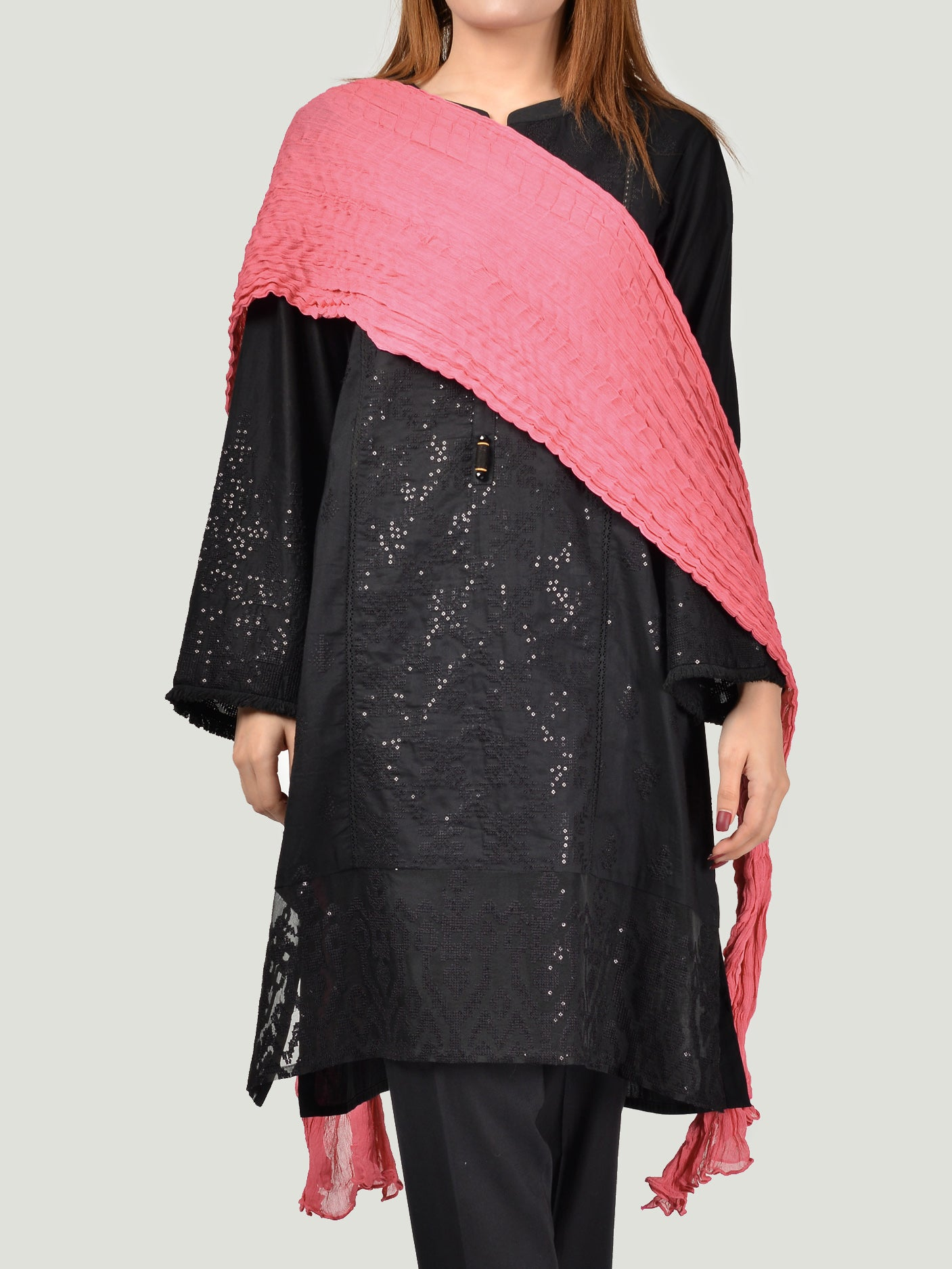 Crushed Dupatta-Peach