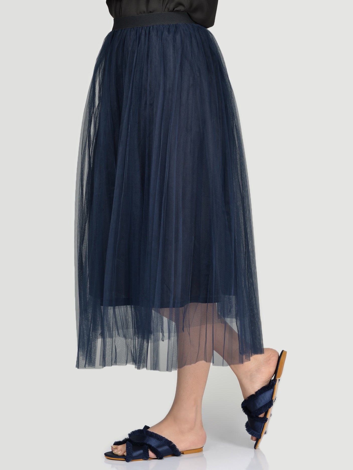 Net Skirt-Navy Blue