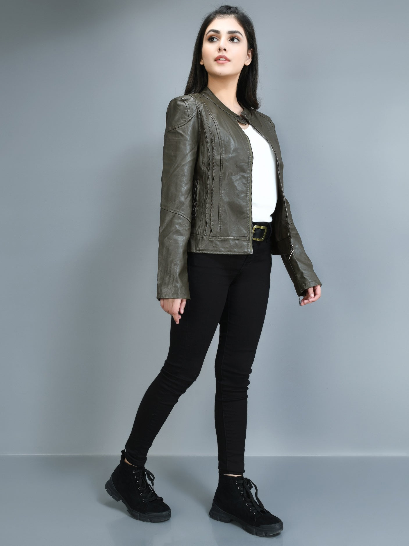 Patterned Leather Jacket - Army green