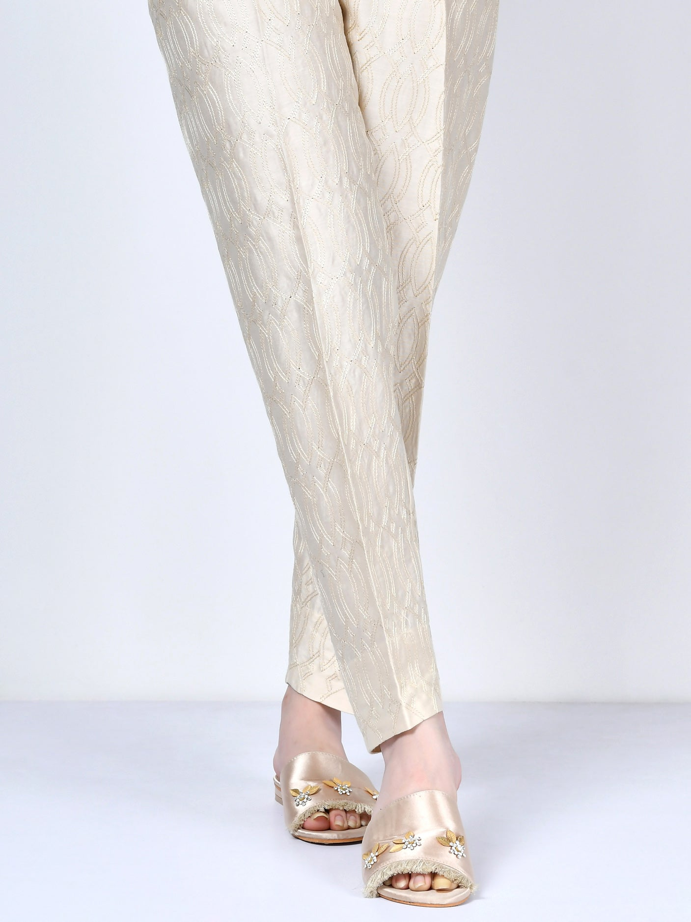 Embroidered Satin Trouser