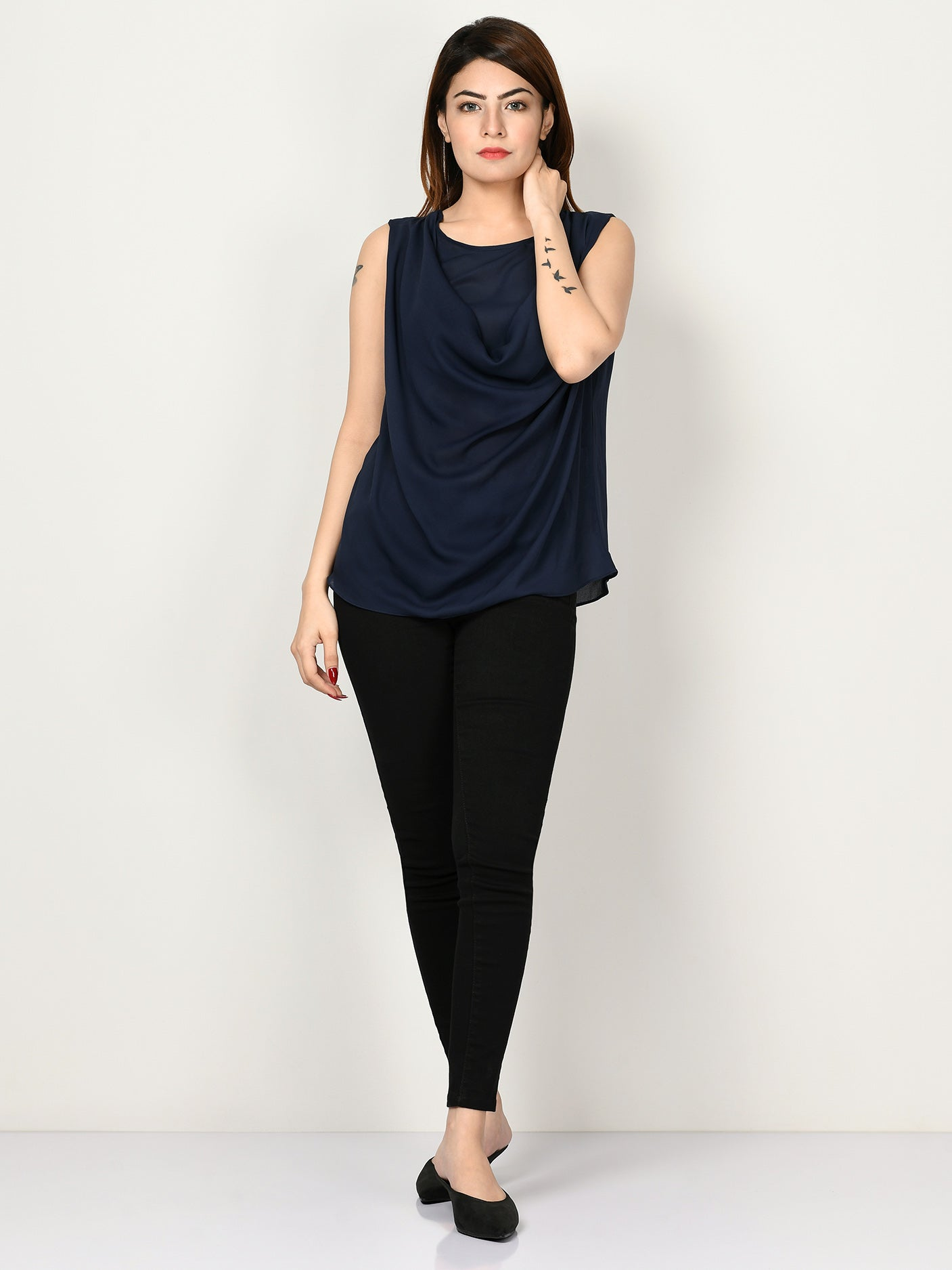 Draped Neck Top